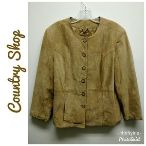 Country Shop-Yellow Mustard Suede Jacket-Sz. L